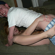 Young wife being shared by hubby with best mate who has a big smile