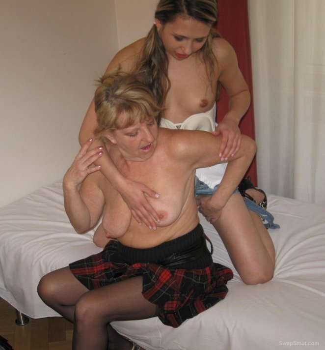 Mature swinging wife tries a young bisexual bitch old and young