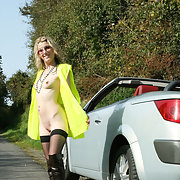 My wife exposing herself on a public road