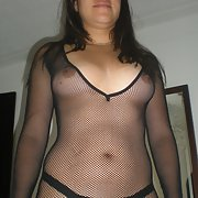 My wife wearing her new black fishnet