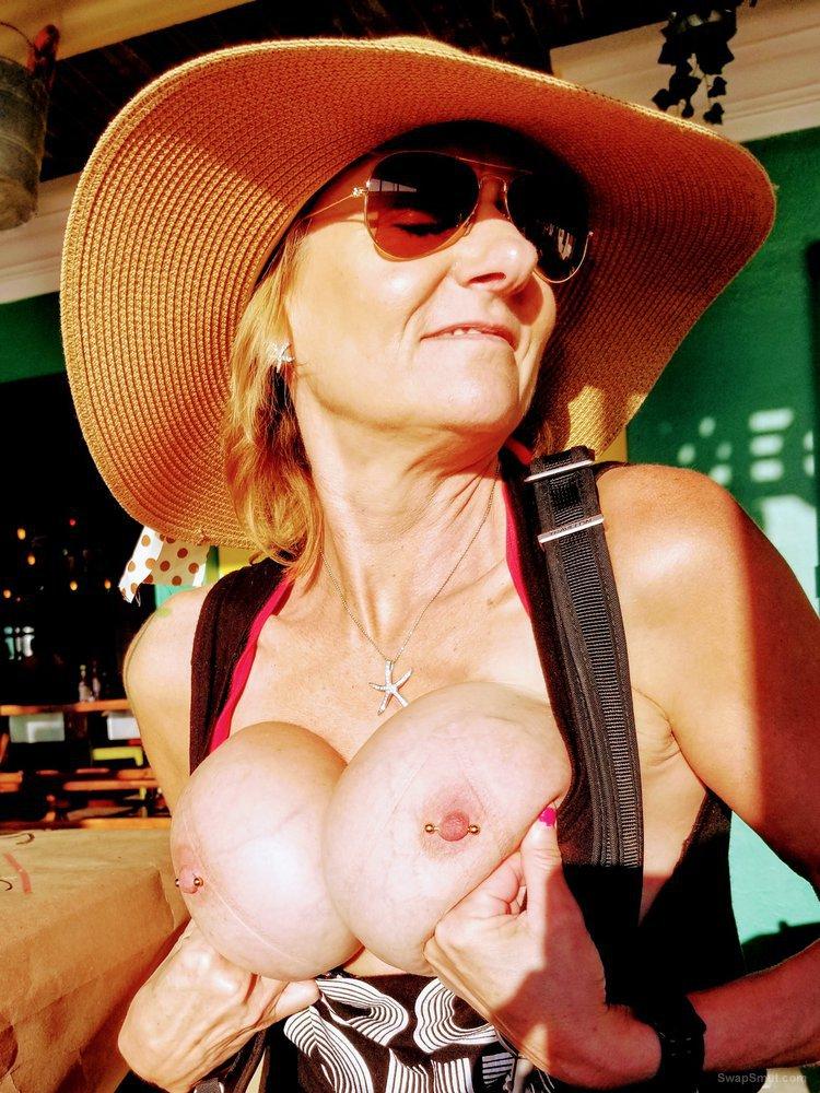 My slutt wife exposing her breasts