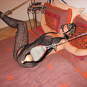 Blindfold and restrained mature wife waiting for stranger to enter
