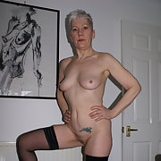 GILF stripping out of new black undie's to show you all my body