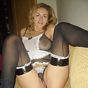 Hot blonde milf teasing her lovely body in maid suit