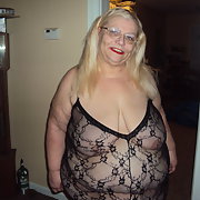 Sexy in black body stoking showing off mature amateur blonde bbw