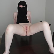 Pale skin British Wife in Niqab displaying pussy