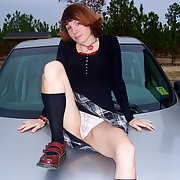 My tattooed pierced milf public photos taken in a parked car