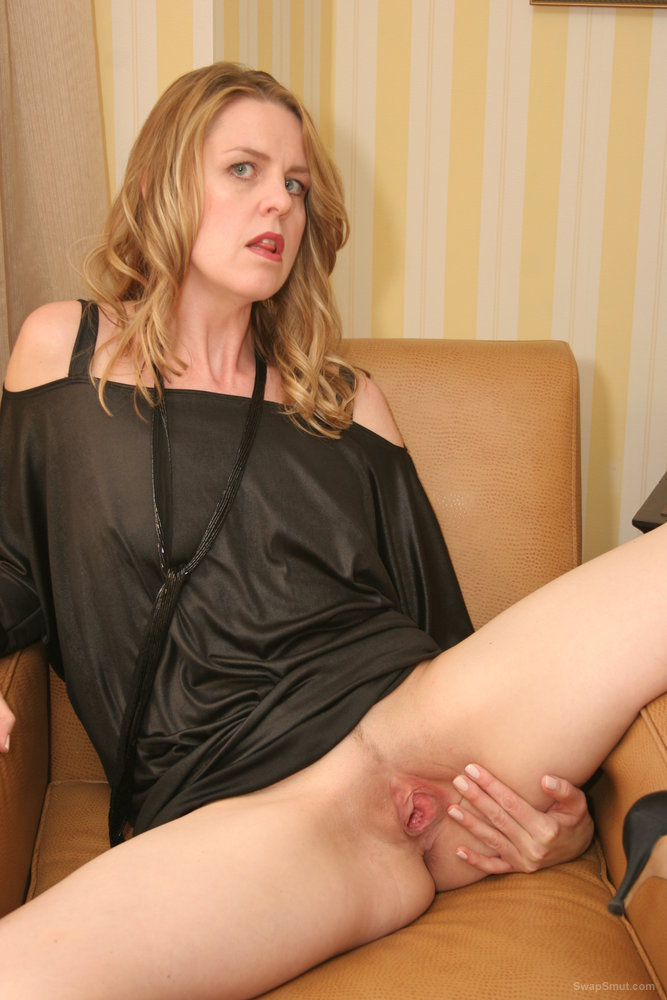 Naughty Nicole black satin dress milf spreading her pink pussy