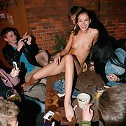 Crazy Russian young bitch completely undressed in a crowded bar p2