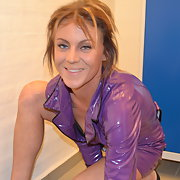 Julie in Purple PVC outfit