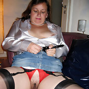 Mature slut with stunning nipples wearing crotchless panties