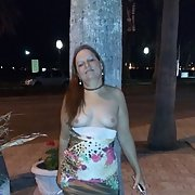Flashing breasts and pussy on the street out in public