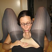 Nice girl with glasses makes blowjob to her BF in nylon
