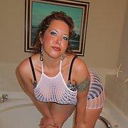 Big tit milf in bra and mesh dress