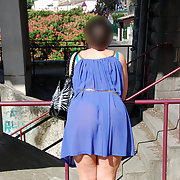 Walking wearing sheer dress almost see through public exhibitionism