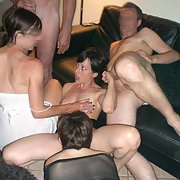 Slut wife having fun at a swingers party gangbang sex orgy