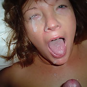 Horny mom face and eye covered with white spunk cum