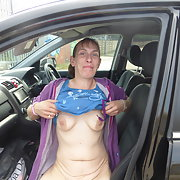 This lady lost a bet to flash her tits and pussy