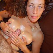 Sexy slut deep throat and giving a tit wank