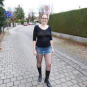 Public pantyhose walk exhibitionist flasher