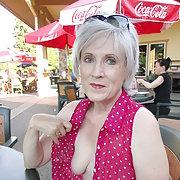 Theresa Having some Fun Flashing at Restaurant