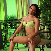 The Black Milf Amateur Lime Green Lingerie