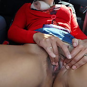MY SLUT WIFE IN PUBLIC SHOWING HER PUSSY MASTURBATING IN CAR