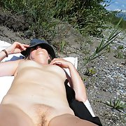 Mature wife suck a cock outdoor and sunbathing naked in public