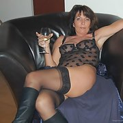 Mature woman wearing sex black underwear