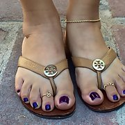 My new purple pedicure and 14k gold anklet love it