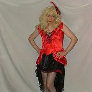 Red Satin Dress & Corset