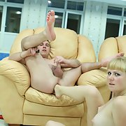 A very sexy and kinky couple blonde sticking foot up guys ass