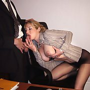 Office secretary groped and touched up hand slid under nylons
