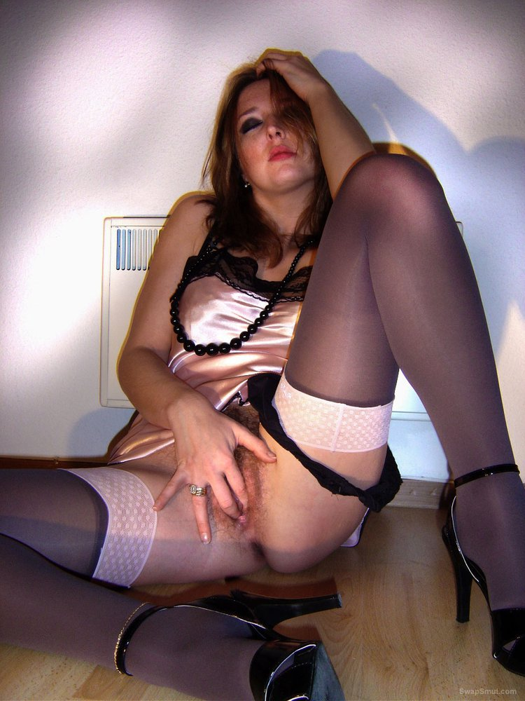 French MILF wearing stockings and tights lovely natural breasts and hairy pussy