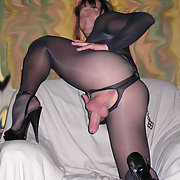 Nylon lingerie high heels tranny sperm and pussy lover cross dresser