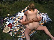Fucking outdoors in public park on a sunny day sex in public place