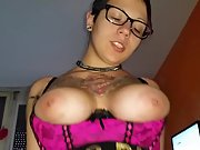 Busty tattooed wife swallowing cum after riding cock