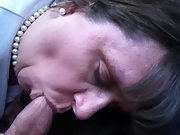 Car blowjob from well dressed MILF in parking lot