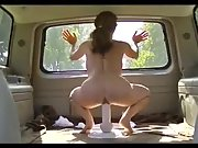 Wife riding her dildo in our van as we go for a drive