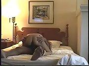 Joyce rides Jim's Dick to a laughing screaming orgasm