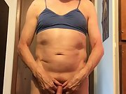 Exposed Faggot Pervert Slut Does Dumb Bell Exercise In Bra And Panty