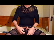 Crossdresser panty wank with big heavy cumming finale