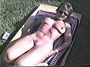 Yvonne gets naked outside on a cold day making her nipples hard