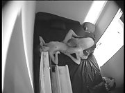Spy cam capturing young lovers having sex in a small bedroom