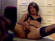 Slut Tammy fucks her dildo then sucks on it and licks her ass juices.
