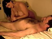 Body rub and massage with oral for older guy with a hairy chest