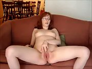 Redhead With Glasses Strip Masturbation On Sofa For Husband