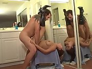 Hot sex with the wife next to a big mirror so we can both see everything