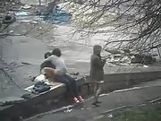 Horny girl watching passionate couple fucking hard in public