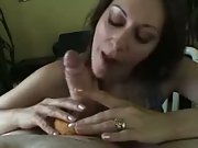 Blowjob with a doughnut